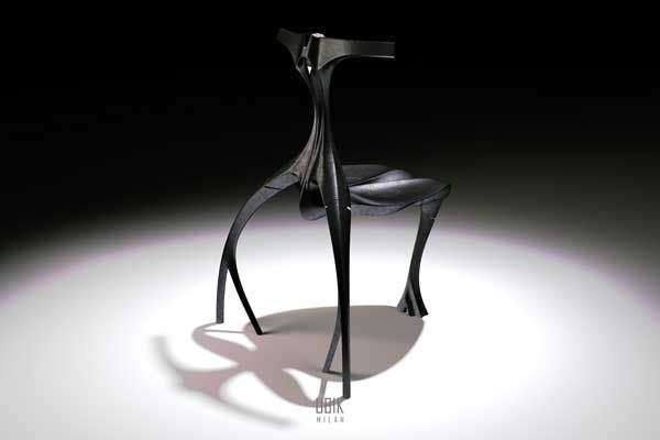 Extraterrestrial or chair? UB1K Chair by Edward Kim (Like something straight out of a science fiction horror movie, the UB1K chair touches on the darker side of futurism with its alien, scaly, organic aesthetic)