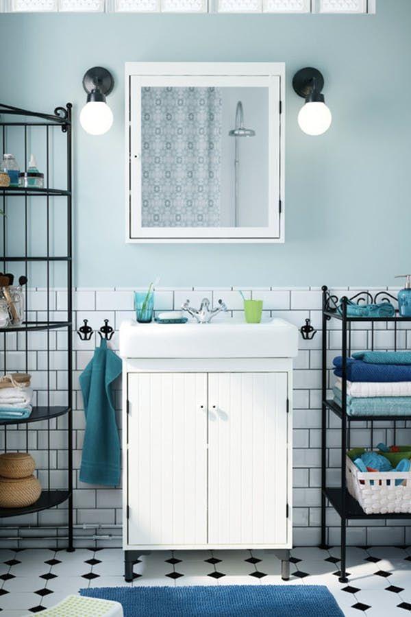 7 Genius Ways To Make A Small Bathroom Seem Larger Ikea Bathroom Storage Bathroom Vanity Ikea Bathroom