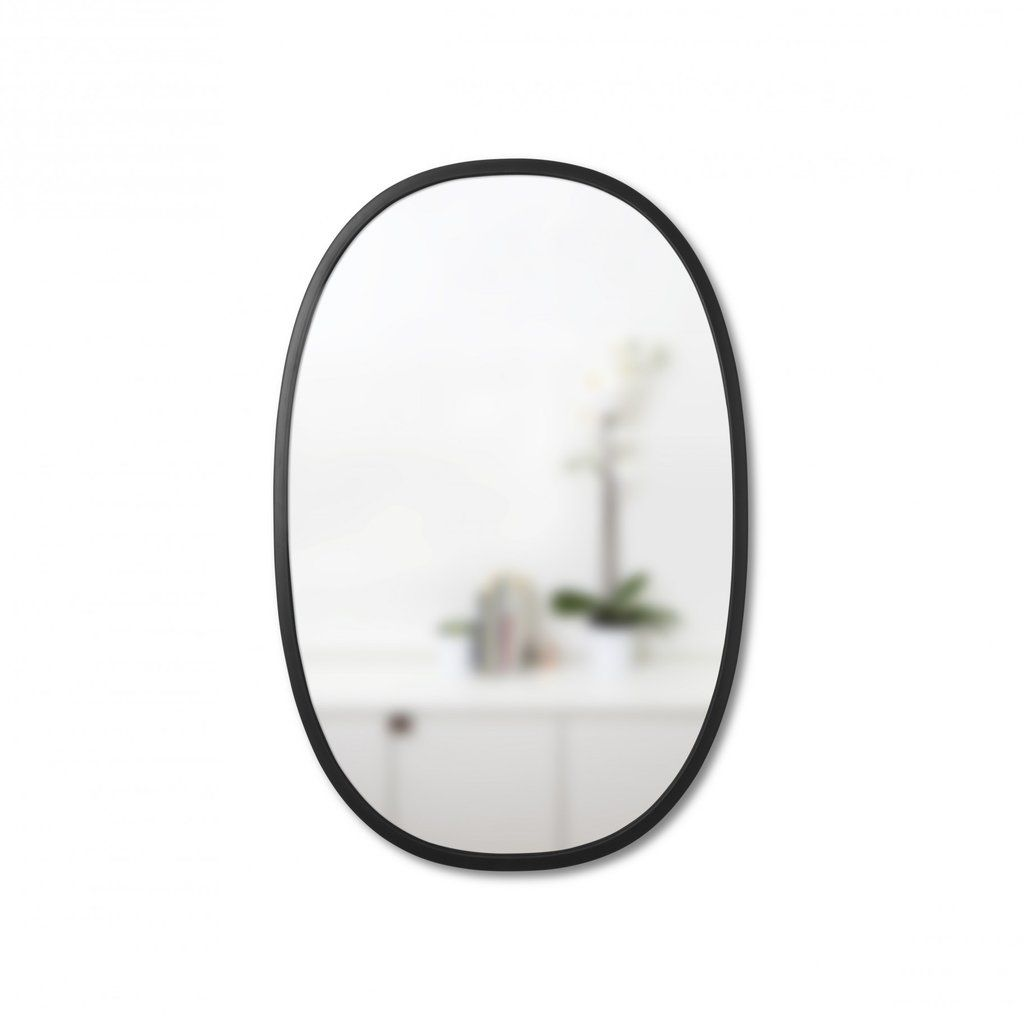 Simple Oval Wall Mirror With Thin Black Rubber Trim For Entryway Living Space Or Bathroom Hangs Vertically Or Horiz Oval Wall Mirror Oval Mirror Mirror Wall