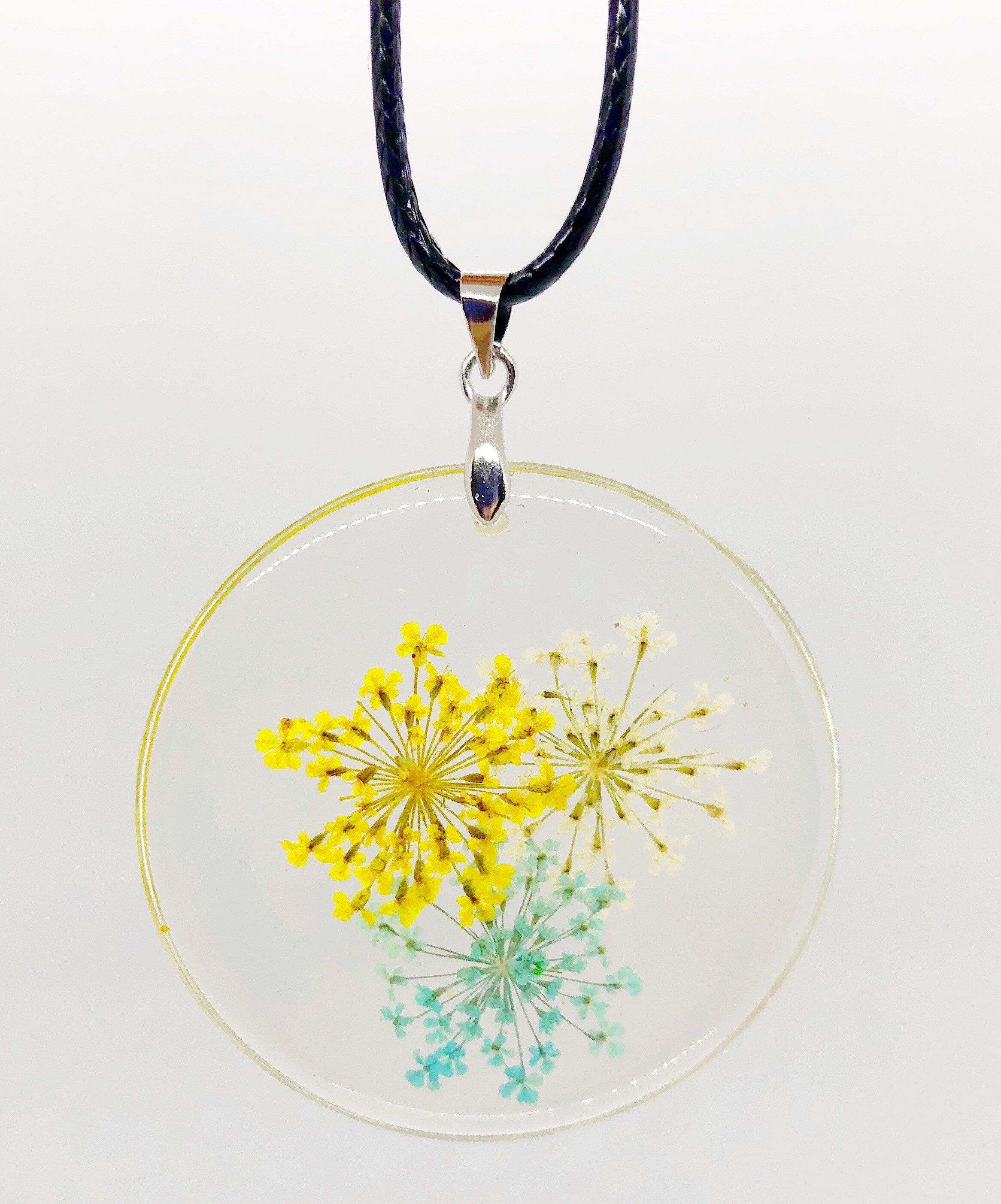 Stunning and unique real flower pendant necklace
