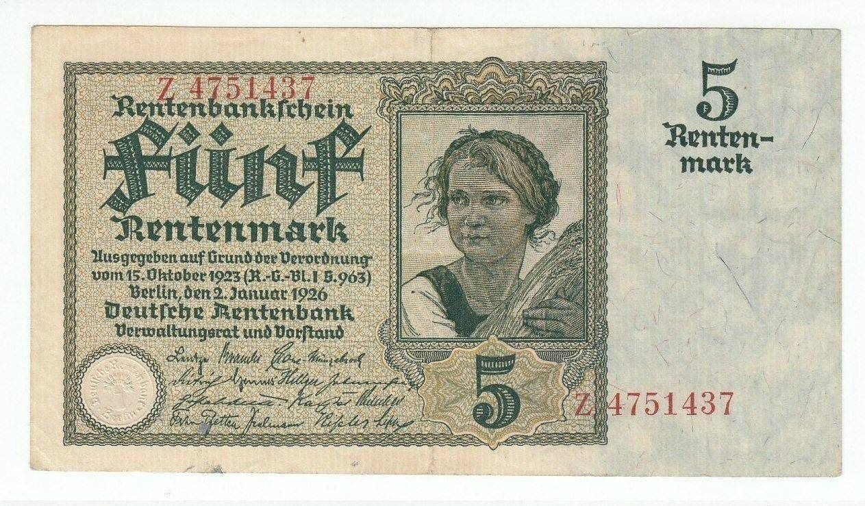 Annons Pa Tradera Germany 5 Rentenmark 1926 Vf Xf P169a Rosenberg