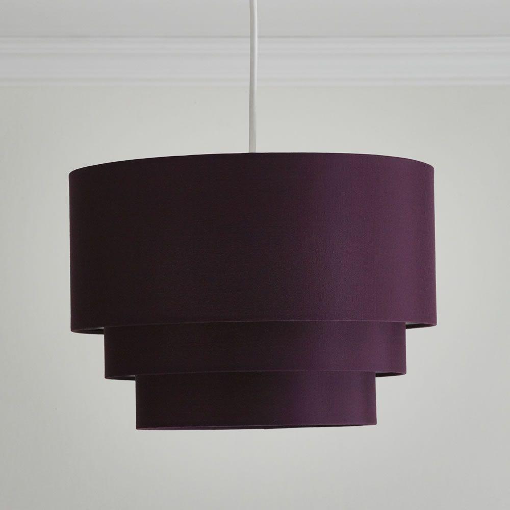 Wilko 3 Tier Shade Plum Lamp Shades Plum Bedroom Pendant Lamp
