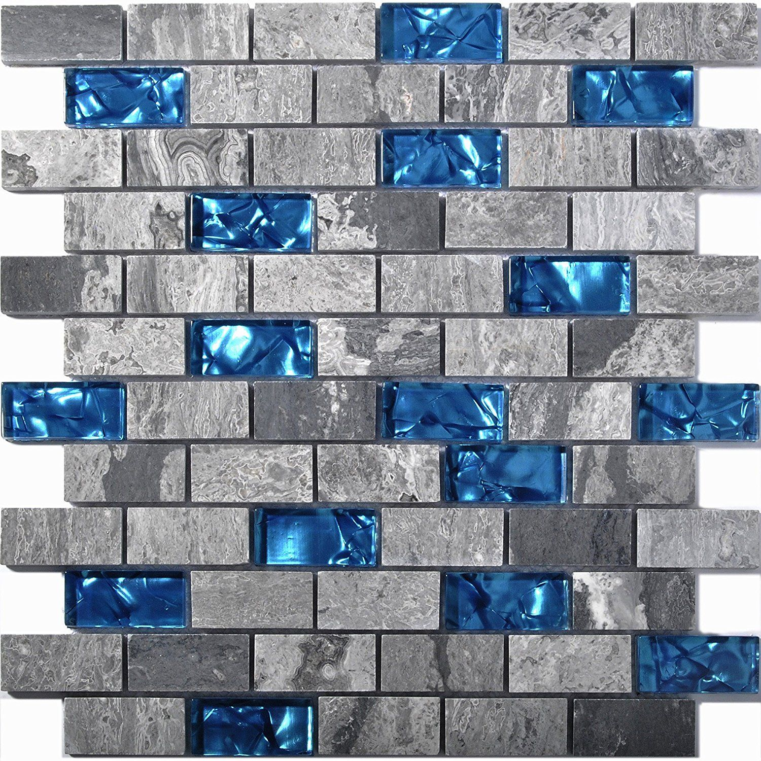 Ocean blue glass tile backsplash grey marble mosaic wave patterns 1 ...