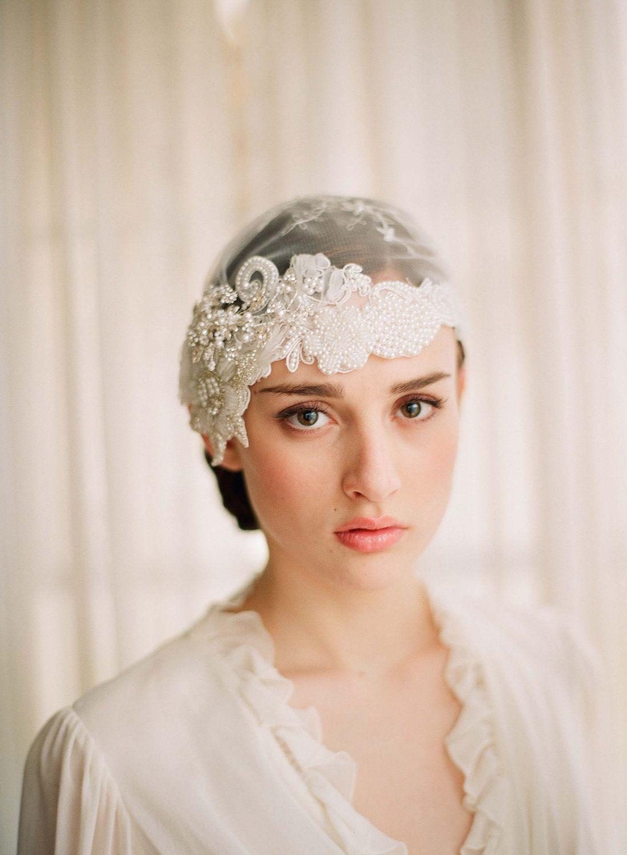 Bridal veil cap tocados pinterest veil cap and beaded lace