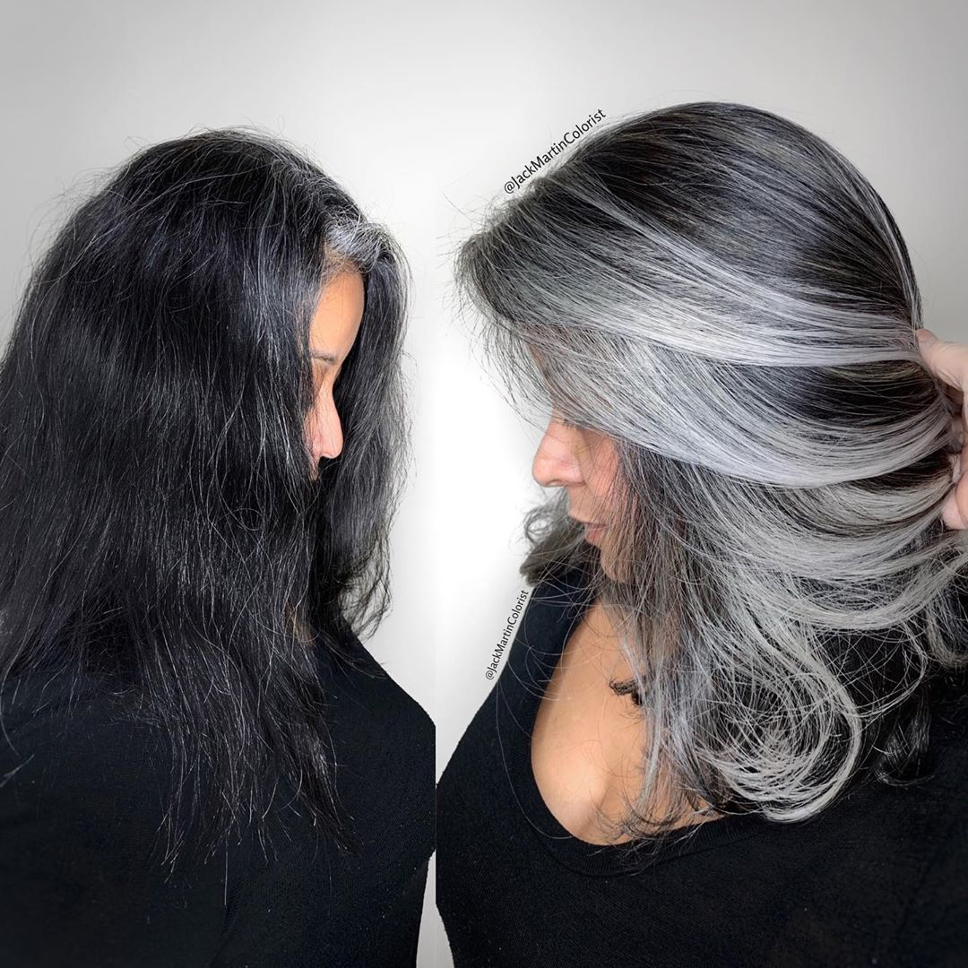 Some Ladies They Only Have Heavy Grey Around Their Front Hair Line The Same As This Beautiful C In 2020 Gray Hair Highlights Transition To Gray Hair Blending Gray Hair