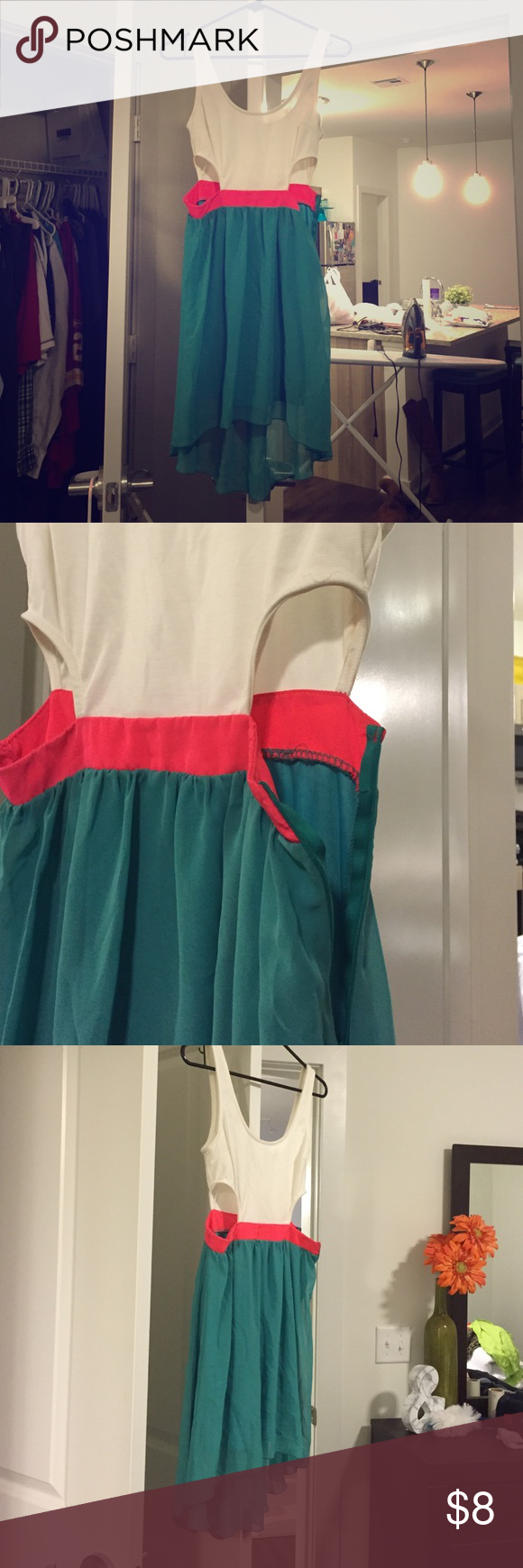 Color block dress Tritone colorful summer dress with side cutouts. Tried in but never worn! Charlotte Russe Dresses
