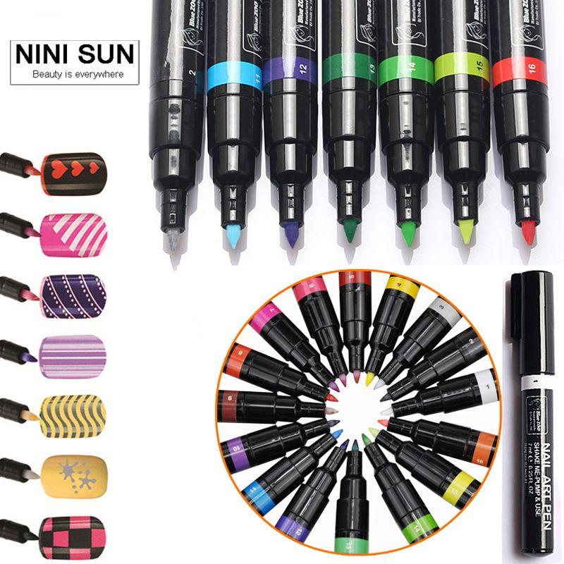 16 Colors Nail Art Pen for 3D Nail Art DIY Decoration Nail Polish ...