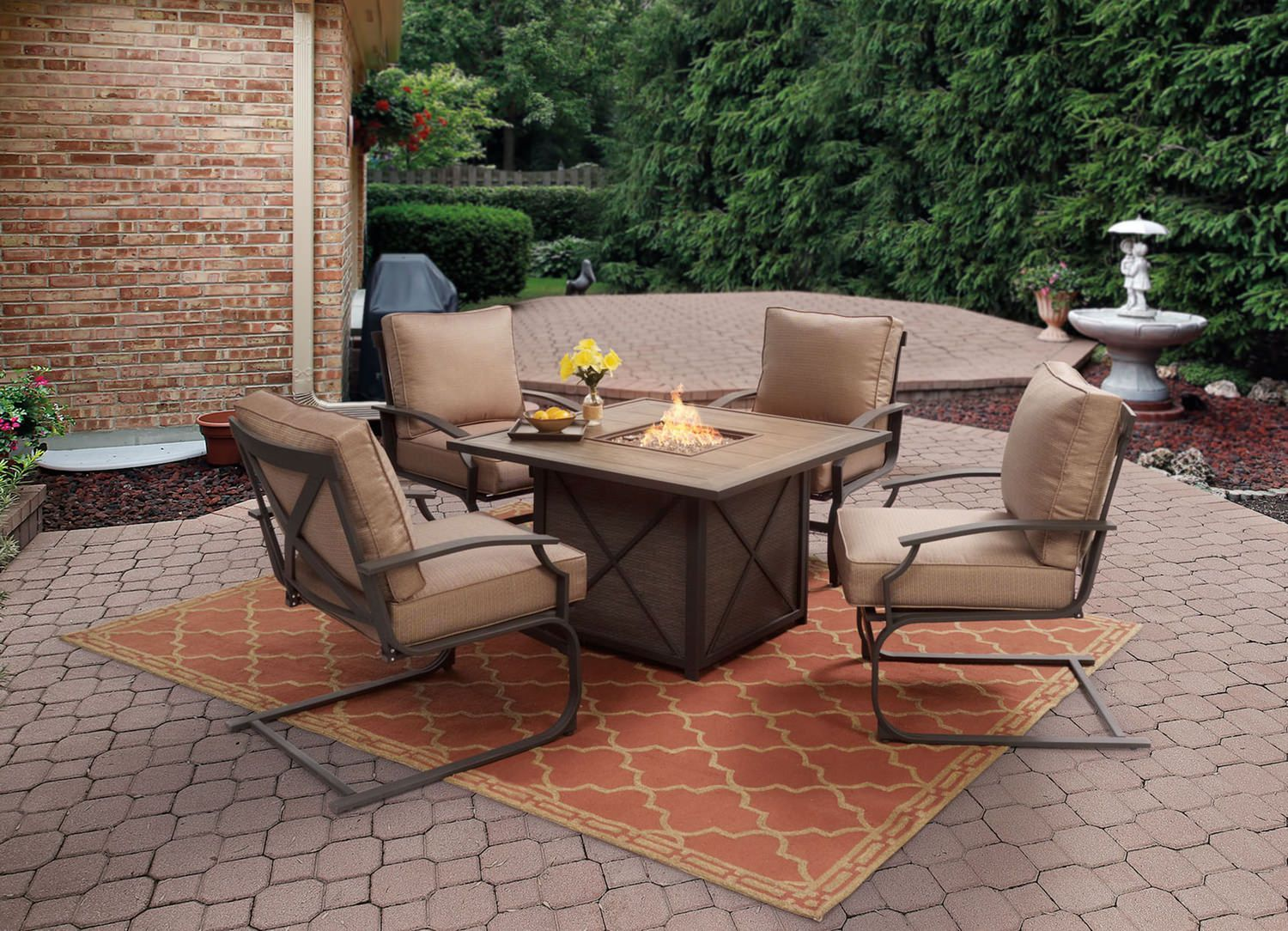 Sonoma 5 Piece Fire Table Set Outdoor Rugs Patio Outdoor Furniture Fire Pit Sets