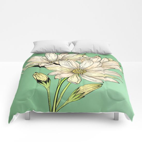 Daisy Flowers - Wild Flowers - Nature Comforters by Salome | Society6