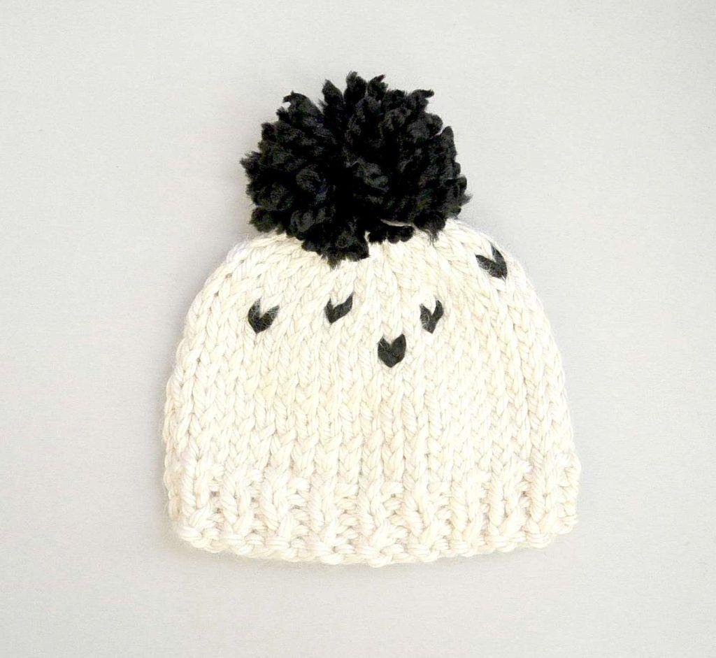 Simple Big Pom Toddler Hat Knit Black And White Poms Toddler Hat Pattern Knitting Hat Knitting Patterns