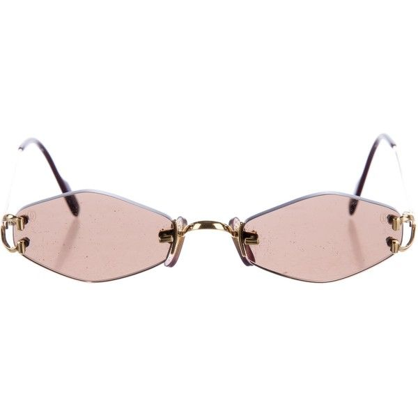 24dee2b602e50 Pre-owned Cartier C Decor Sunglasses (1.770 BRL) ❤ liked on Polyvore  featuring accessories, eyewear, sunglasses, glasses, brown, brown lens  sunglasses, ...