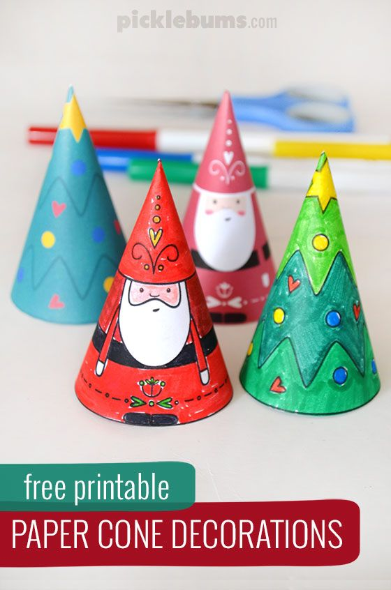 Paper cone christmas decorations free printable paper for Cardboard cones for crafts