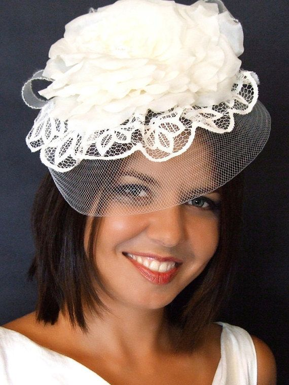 White rose fascinator, lace fascinator, lace cocktail hat, withe couture wedding headpiece