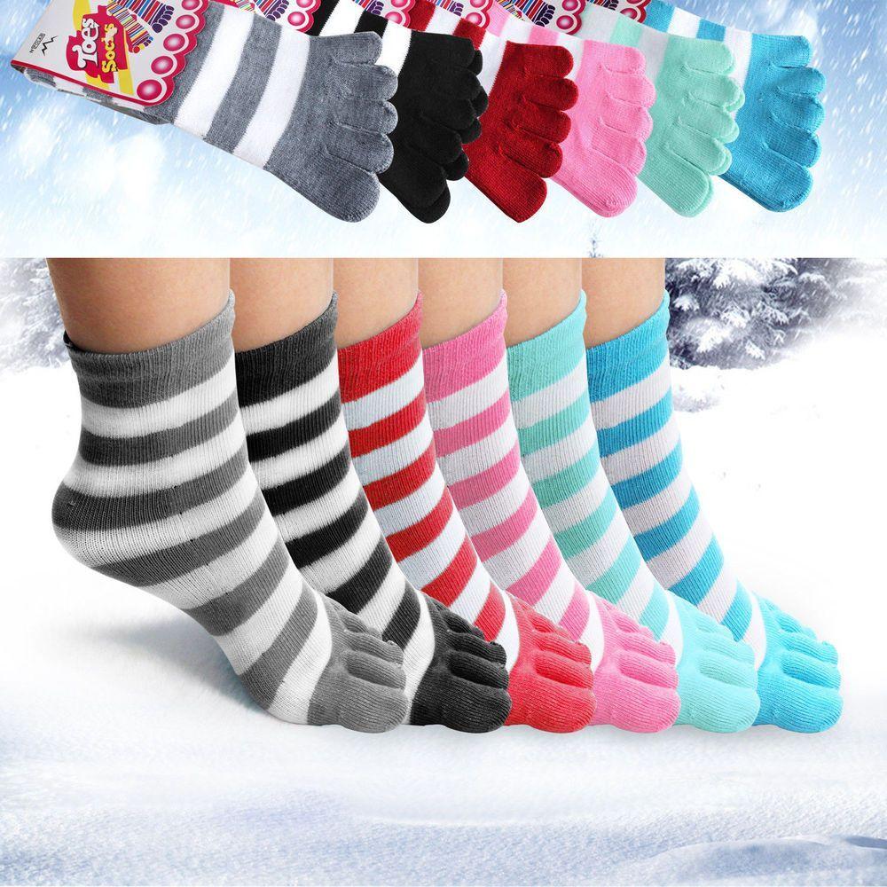 6 Pair Toe Socks Soft Striped Ladies Women Girls Size 9-11 Fun Color Style