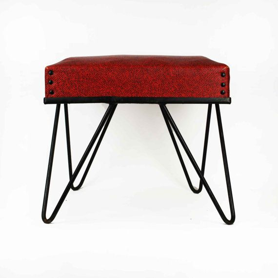 Vintage Stool With Hairpin Legs // Red U0026 Black Vinyl Ottoman // Mid Century  Modern Atomic By Modern Home Equipment Of Michigan