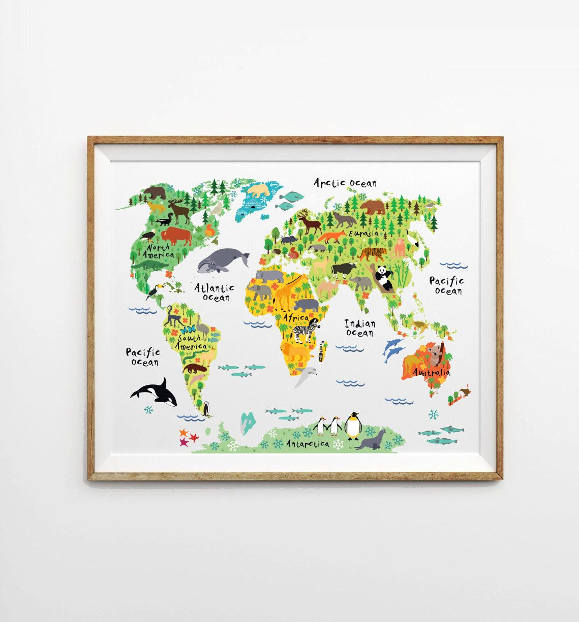 Animal World Map X In X In X In Montessori - World map for playroom