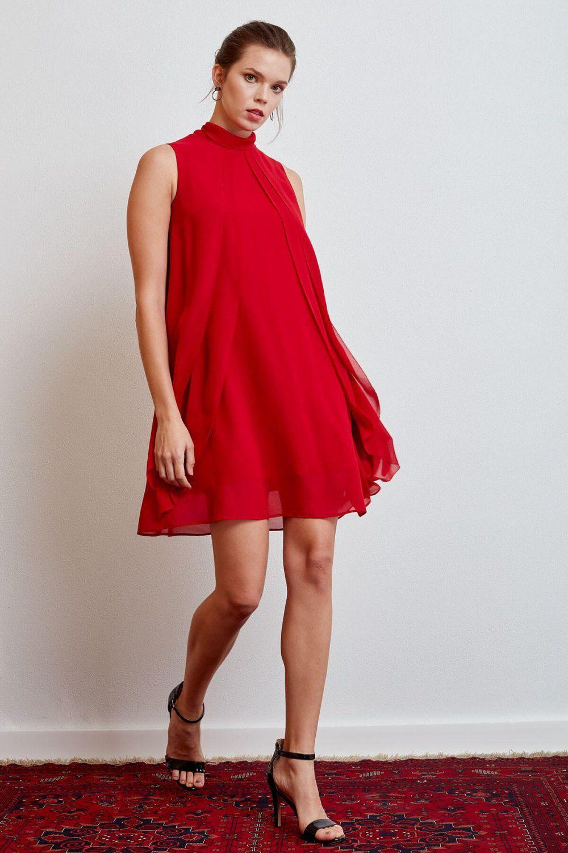 Journey Kirmizi Katli Parcali Mini Abiye Elbise Elbisebul Elbise The Dress Elbiseler