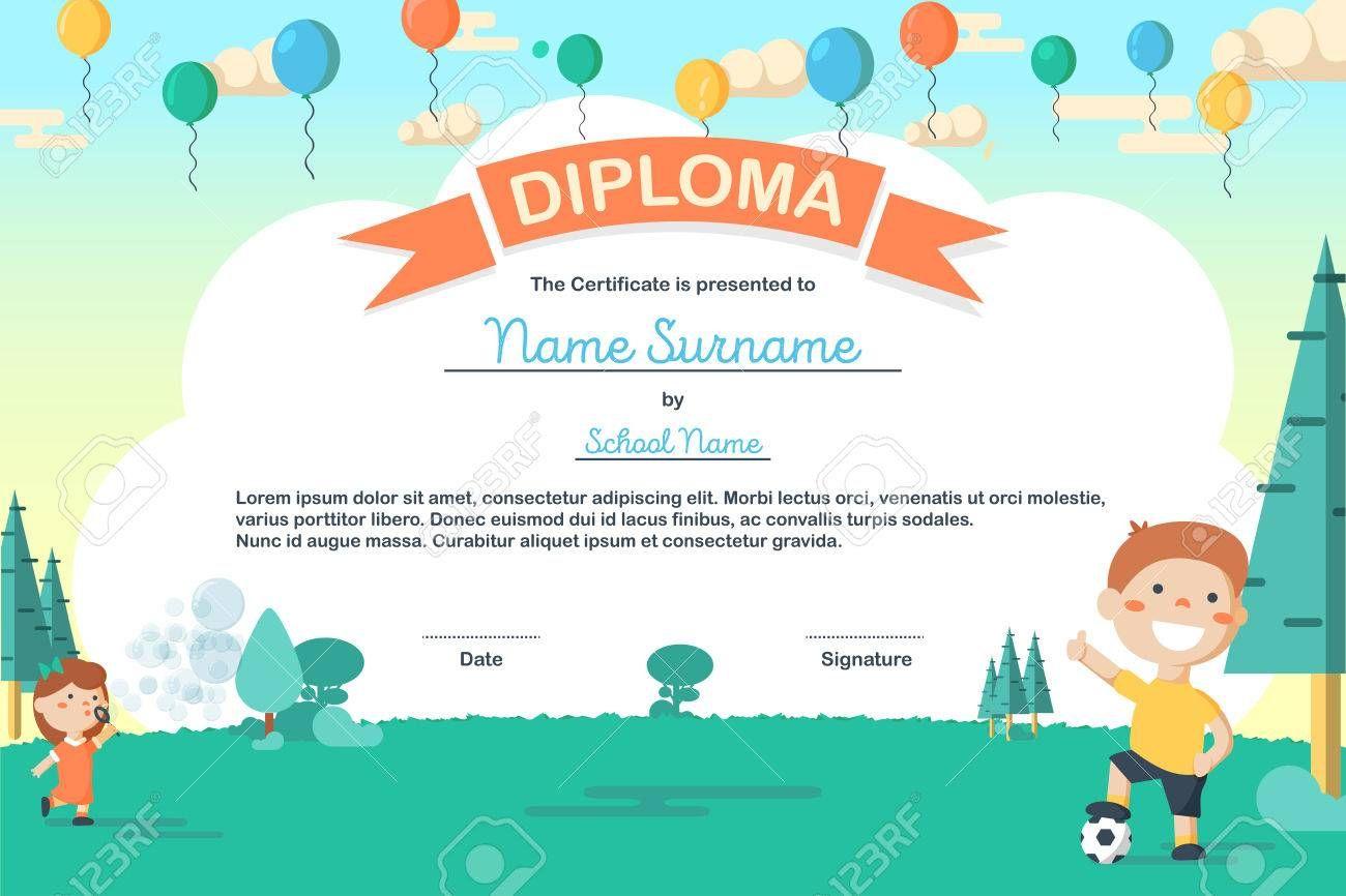 Colorful Kids Summer Camp Diploma Certificate Template In Cartoon Regarding Summer Camp Certificate T Summer Camps For Kids Certificate Templates Summer Kids
