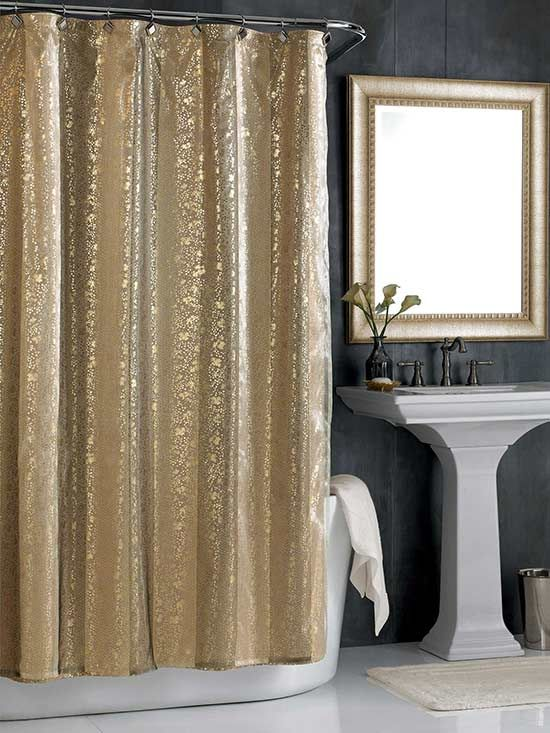Glitzy And Glamorous Bath Accessories Gold Shower Curtain