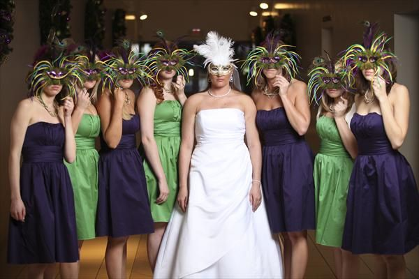 Purple and Green bridesmaid dresses and Mardi Gras masks for this ...