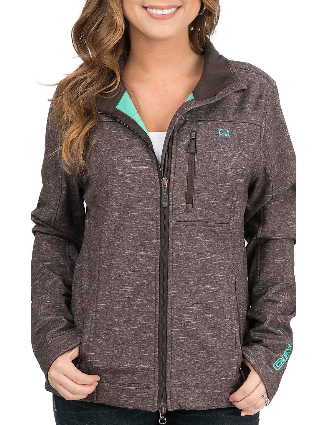Cinch Women S Brown With Turquoise Accents Bonded Softshell Jacket Cavender S Fashion Clothes Clothes For Women [ 1440 x 1110 Pixel ]