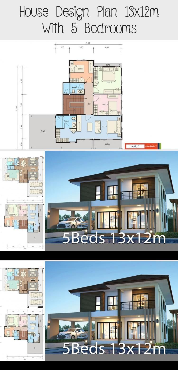 House Design Plan 13x12m With 5 Bedrooms Home Design With Plansearch Modernhousesonefloor Cheapmodernh In 2020 Home Design Plans House Design Modern Tropical House