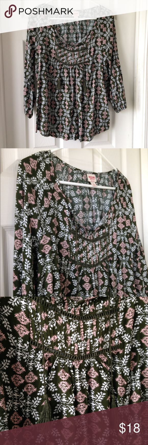 """Olive & Pink Tassels Top Olive green, pink, and white. Lightweight. Worn once - no stains or holes. Olive green Tassels. 100% rayon. 3/4 sleeves with elastic band at end of sleeves. Measurement laying flat: bust: 21"""" length: 28"""" Mossimo Supply Co Tops Blouses"""
