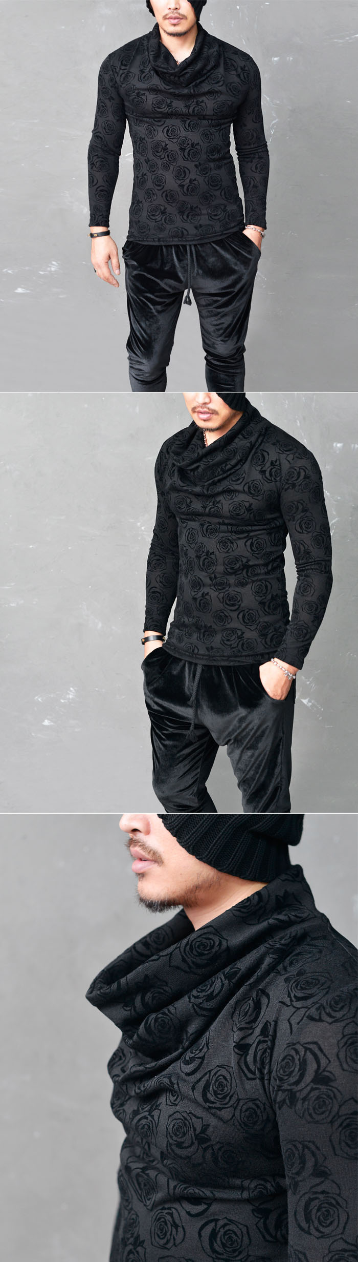 Tops :: Tees :: Skin-Tight See-through Rose Skull Turtle-Tee 602 - Mens Fashion Clothing For An Attractive Guy Look