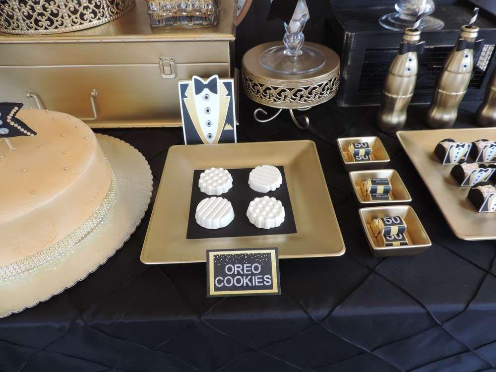 Black and gold tuxedo birthday party ideas 50 a os d a - Ideas para cumpleanos de 50 anos ...