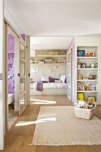 Dos hermanas dos espacios y un solo dormitorio habitacion ni as pinterest - Suelo habitacion ninos ...