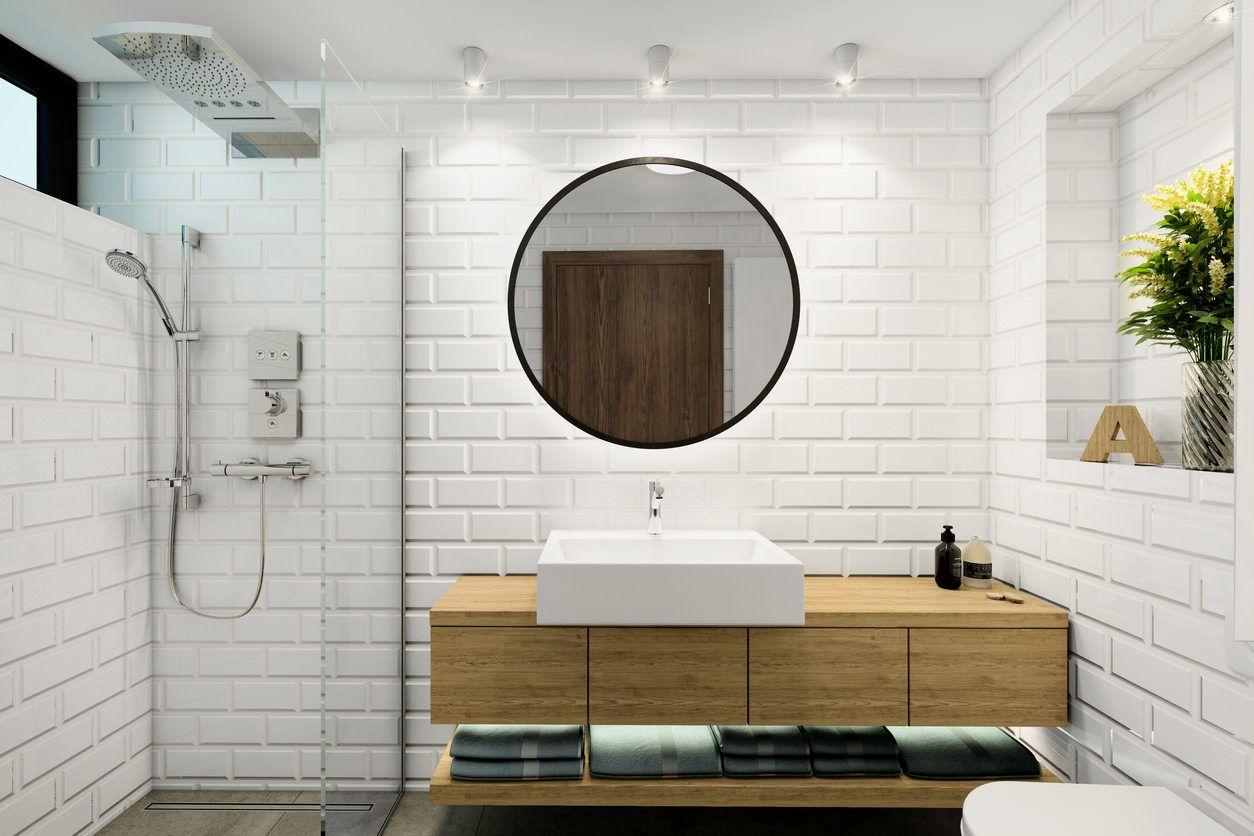 33 Elegant White Primary Bathroom Ideas 2020 Photos White Master Bathroom Brick Tiles Bathroom Luxury Master Bathrooms