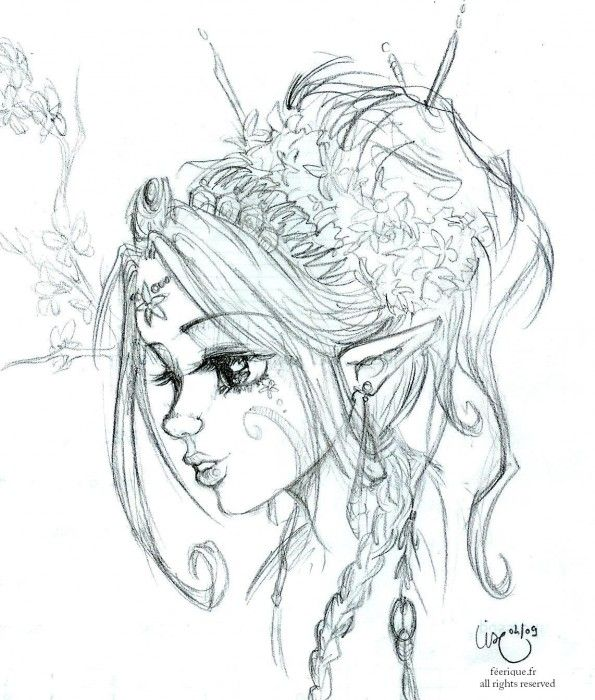 L elfe magnolia t dessin fantasy en 2019 dessin f e dessin elfe et dessin - Manga coloriage elfe ...