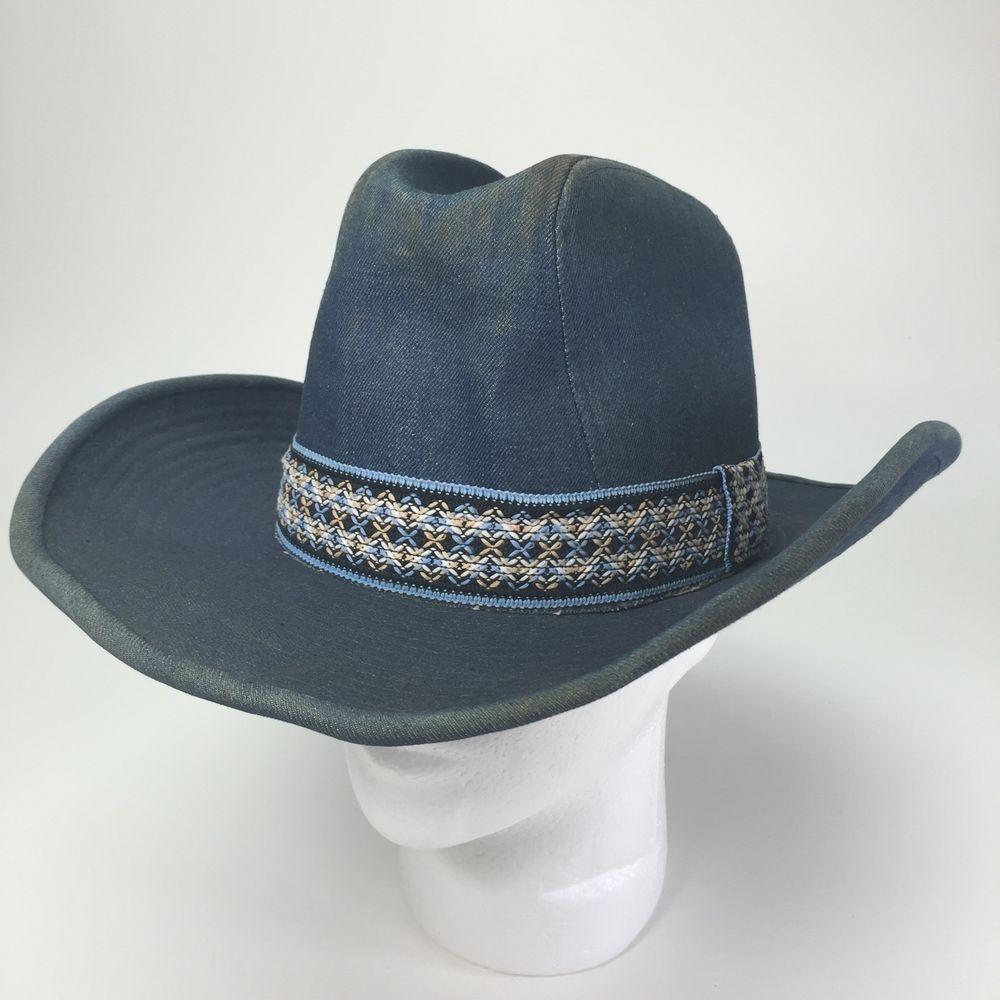 Vintage Ya Blue Denim Cowboy Hat w Western Hatband Size L Distressed Worn  Dirty  6fd449fbb50