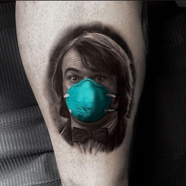 """A reminder to stay safe and healthy with Artist @ralfnonnweilerta2 #portraittattoo #tattoorealism #stayhome #quarantine  TatDaddy Clothing Co. """"Wear it With Pride"""