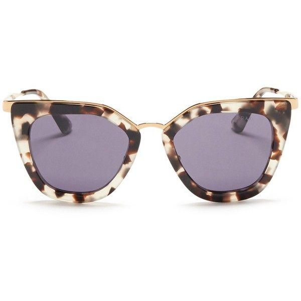 76e34c775f Prada Metal bridge cat eye acetate sunglasses ( 320) ❤ liked on Polyvore  featuring accessories