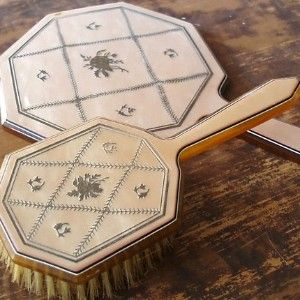 Victorian Brush Hand Mirror Set Celluloid Designs...