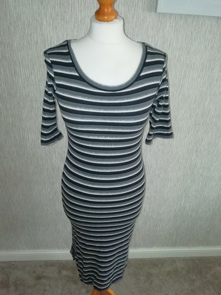 1609228b NEXT GREY BROWN SILVER STRIPE DRESS - UK Size 8 #fashion #clothing #shoes # accessories #womensclothing #dresses (ebay link)