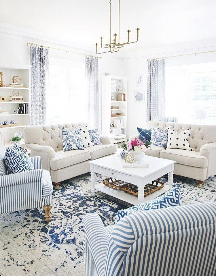 25 Summer Decorating Ideas And How To Fall In Love With Your House Again Thistl In 2020 Blue And White Living Room Home Living Room Contemporary Living Room Design