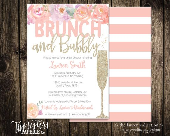 c8c79e71ac58 Floral Brunch and Bubbly Bridal Shower Invitation - LAUREN Collection -  Printable Invitation