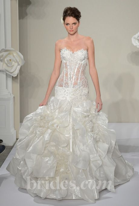 Pnina tornai 2013 style 4200 strapless ball gown for Sheer bodice wedding dress