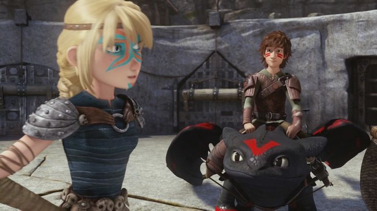 "Hiccup and Toothless with Astrid. Astrid to Hiccup- ""I was talking to Toothless."""