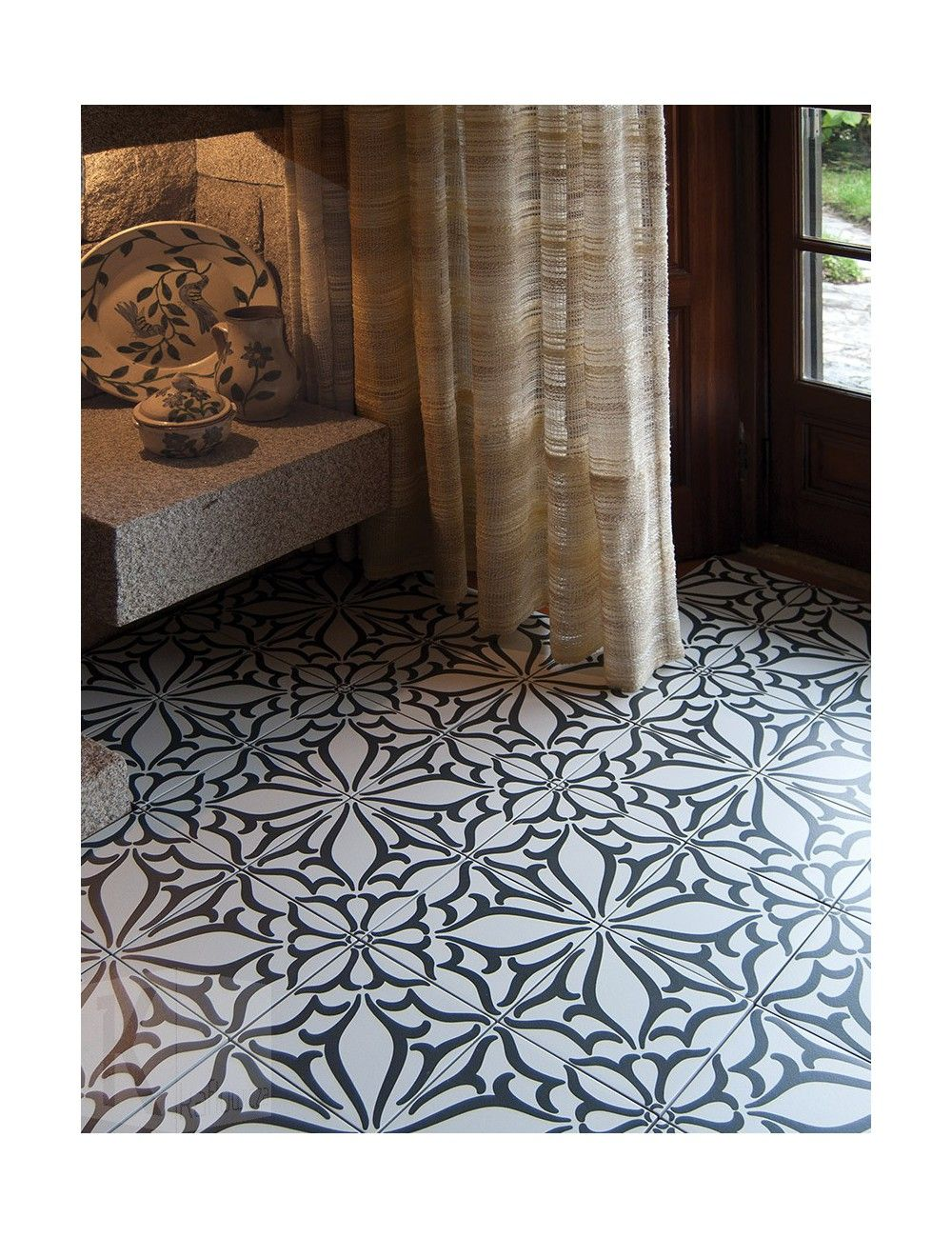 P ytki kerion neocim decor classic noir c 20x20 flooring for Carrelage kerion