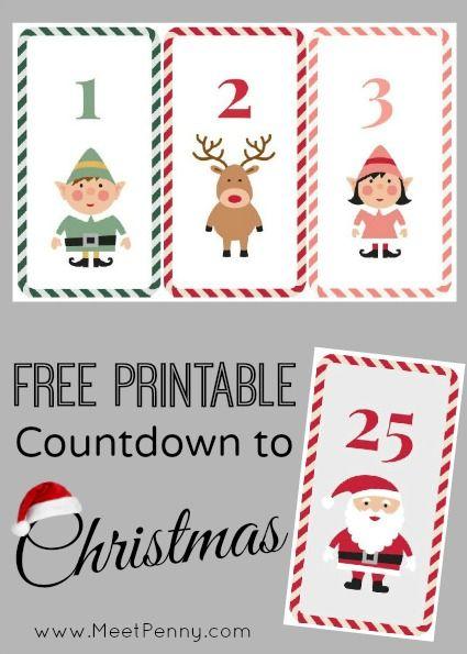 Free Printable Countdown to Christmas | Free printable, Activities ...