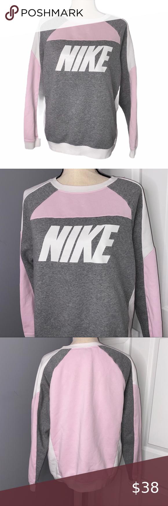 Nike Baby Pink Gray Logo Crewneck Sweatshirt Clothes Design Crew Neck Sweatshirt Fashion [ 1740 x 580 Pixel ]