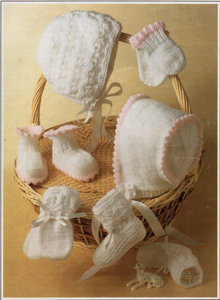 Baby Bootees Bonnets Mitts Knitting Pattern Pdf Hats Picot Edge Lacy