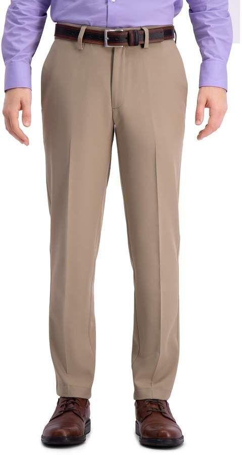 Haggar Mens Cool 18 Pro Straight Fit Flat Front Superflex Waistband Pant Casual Pants