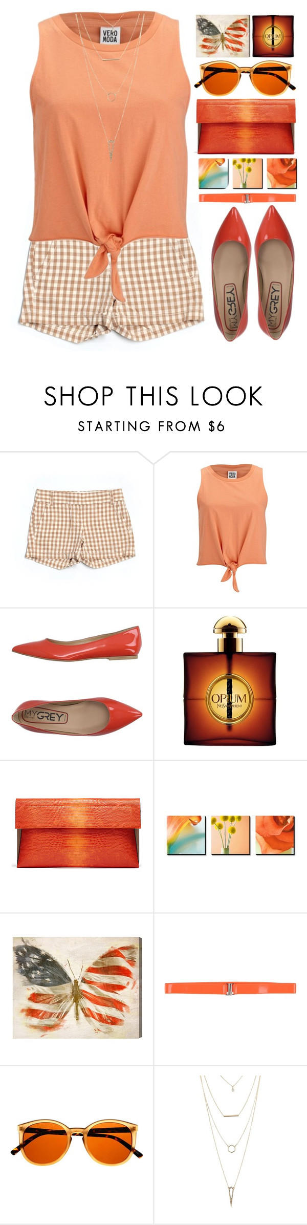 """""""Layered Necklace"""" by grozdana-v ❤ liked on Polyvore featuring J.Crew, Vero Moda, My Grey, Yves Saint Laurent, Oliver Gal Artist Co. and Charlotte Russe"""