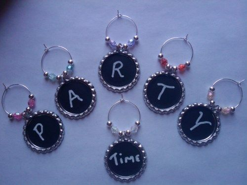 Chalkboard Wine Charms a Set of 20, pick your bead colors