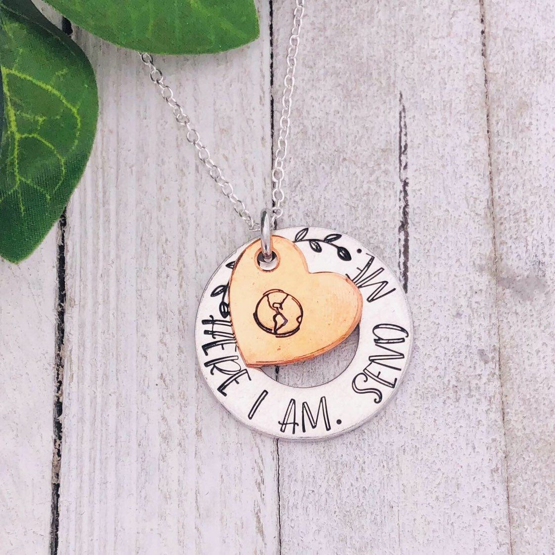 LDS Jewelry Hand Stamped by Eight9 Designs Send me Mixed Metals Missionary Necklace Isaiah 6:8 Scripture Here am I
