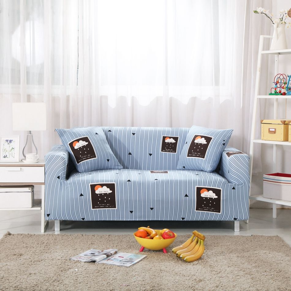 Elastic Sofa Cover Blue Stripes Cartoon Patterns Appropriate For Living Room Fit For Single Double Three Four Seat So Sofa Covers Striped Sofa Furniture Covers